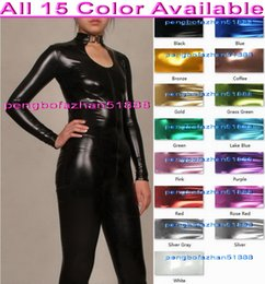 purple red full body suit UK - Sexy Body Suit Costumes New 15 Color Shiny Lycra Metallic Suit Catsuit Costumes Sexy Bodysuit Front Long Zipper Halloween Cosplay Suit P088