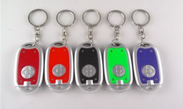 Discount led lighted plastic balls Novel round flat light LED plastic keychain lights, advertising promotional gifts keychain lights   electronic lights