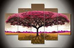 High Quality Modern Printed On Canvas Big Tree Painting For Living Room  Decoration 5pcs Set Wall Decor Canvas Prints F 445