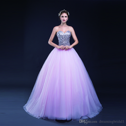 Barato Vestido Rosa Tull-Elegant Pink Ball Gown Prom Dresses 2017 New Sweetheart sem mangas Sequins Tull Andar Comprimento Longo Formal Evening Dresses Party Gown 9-LG0289