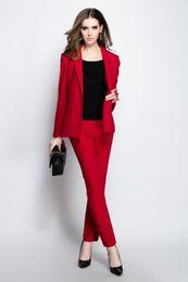 Venta al por mayor de Chaqueta + Pantalones Trajes de negocios para mujeres Negro y rojo Mujer Uniforme de oficina Señoras Invierno Trajes formales 2 piezas Conjuntos Breasted solo