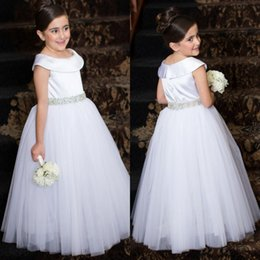 Discount gold satin belts - White Wedding Party Flower Girl Dresses Satin Cap Sleeves A Line Full Length with Beaded Crystals Belt Tulle Birthday Pa