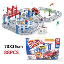 plastic train track set 2018 - Large Track Rail Car DIY Toy Car Model Electronic Kids Toys Multilayer 73*35CM