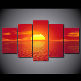 Art Canvas Prints Australia - 5 Pieces Red Sunset Landscape Canvas HD Prints Posters Home Wall Art Pictures Abstract Paintings Room Decor Framework