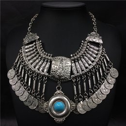 Barato Dança Do Ventre Cigano-Bohemian Jewelry Collar Necklace Mulheres Totem Gem Coin Tassels Statement Colares Turkish Gypsy Ethnic Tribal Belly Dance