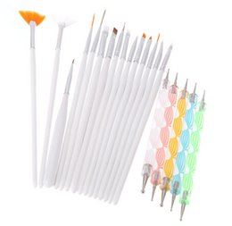 Barato Conjunto De Ferramentas De Pontilhado-Professional 20Pcs Nail Brush Nail Art Design Pintura Dotting Detailing Pen Brushes Bundle Tool Set Kit
