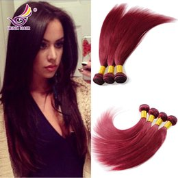 "remy human hair bundles Canada - 7A Indian Virgin Hair Straight 4pcs Burgundy Brazilian hair 99j# Peruvian hair bundles 8""-30"" 100% unprocessed remy human hair extensions"