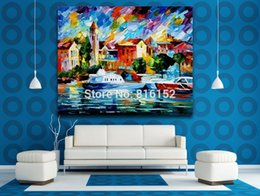 wall art large canvas prints NZ - Palette Knife Oil Painting Yachts Moored in Large Harbor Picture Printed On Canvas Wall Art For Hotel Office Home Decor