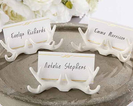 photo place card holders Canada - 2016 Wedding Decoration Favors Resin Antler Place Card Holder Photo Holders Event Party Supplies 100pcs wholesale