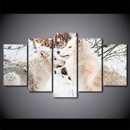 $enCountryForm.capitalKeyWord NZ - 5 Pcs Set Framed HD Printed White Snow Wolf Couples Wall Design Canvas Print Poster Modern Art Oil Paintings Pictures