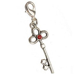 $enCountryForm.capitalKeyWord Australia - DIY Charms With Clasps Bracelets Necklaces Crafts Key Chains Pendants Keys Red Crystal Handmade Vintage Silver Metal Jewelry Findings 100pcs