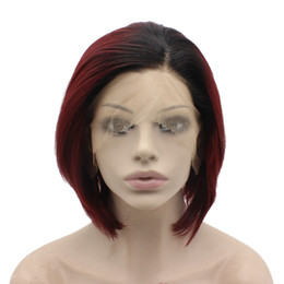 $enCountryForm.capitalKeyWord UK - Black Red Ombre Short swiss Lace Front Bob Wig Synthetic