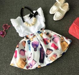 children chiffon wears 2019 - Summer Wear Girls Set Kids 2pcs Set Ruffles White Chiffon Blouse Tops + Perfume Printed Skirt Child Clothing Suit Childr