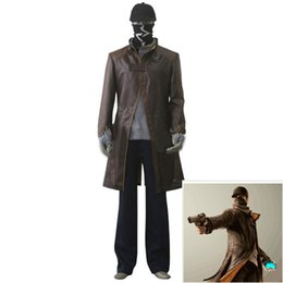 Pvc Cosplay Clothing UK - 2017 new hot Watch Dogs clothes watchdog Cosplay Eden windbreaker coat hat face towel a full set of custom