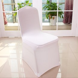 White Wedding Chairs Wholesale Canada - Wholesale 100pcs Universal Polyester Spandex Wedding Chair Covers for Weddings Banquet Folding Hotel Decoration,white #HC01-72