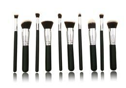 Kabuki Black Makeup Brushes Canada - Hot Sale Professional 10pcs Makeup Brush Set Synthetic Hair Kabuki Brush Cosmetic Brush Set Black Make Up Brush Kits Foundation Facial Brush