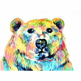 Bored Hair UK - Animal Picture Bear Colorful Hair Hand-painted Oil Painting on Canvas Mural Art for Office Bedroom Wall Decoration