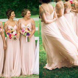 $enCountryForm.capitalKeyWord NZ - Stunning 2017 Pink Chiffon Beaded Cold Shoulder Bridesmaid Dresses Long Cheap Beading Sash Ruched Wedding Guest Gown Custom Made EN10271