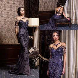 HigH neckline lace prom dresses online shopping - Prom Navy Blue Dresses Open Back Long illusion neckline Floral lace and sequin long train tulle dress formal occasion Evening dress