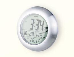 Round digital wall clock online shopping - Fashion waterproof bathroom wall clocks bell electronic clock temperature sensor display LCD round shape home decor wall clocks