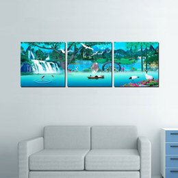 China 3 Pieces no frame free shipping on Canvas Prints chinese the Great Wall flower lake mountain Lotus Bamboo tree Grape strawberry Wine river suppliers