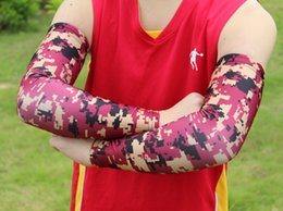 Digital camo reD white blue online shopping - 2016 new sports Baseball Stitches digital camo arm sleeves baseball Outdoor Sport Stretch camo compression arm sleeve