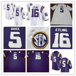 Barato Tigres Amarelos Roxos-Mens LSU Tigers College Futebol Jersey 5 Derrius Guice 16 Danny Etling 49 Arden Key 69 Turner Simmers Purple White Yellow Stitched Jerseys