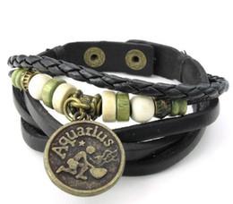 "$enCountryForm.capitalKeyWord NZ - Mens Womens Leather Bracelet Handmade Constellation Zodiac Sign Logo Charms Beads Button Adjustable Size Bangle Black 8"" Drop Shipping"