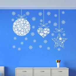 Discount 3d ball window sticker - Merry Christmas Removable Vinyl Wall Sticker Christmas Balls Art Design Wall Decals Home Window Art Design Wallpaper MC0