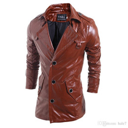 Barato Marrom Trincheira Casacos Para Homens-New High Quality Mens Black Brown Leather Trench Coat Single Breasted Punk Casaco de couro para homens Turn-down Collar Jacket Harley