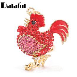 Men chicken online shopping - beijia Cock Luxury Rooster Chicken Keychains Crystal Trinket Key ring chains Holder Metal Animal Keyrings K302