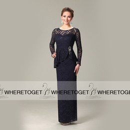$enCountryForm.capitalKeyWord Canada - Vintage Lace Sheer Neck Mother Of The Bride Dresses Sequin 2019 Long Sleeve Hollow Peplum Brooch Crystal Evening Party Gowns