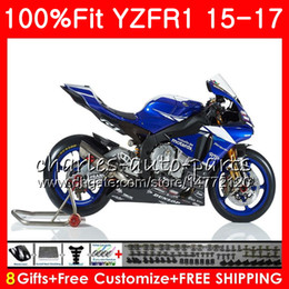 yamaha blue Australia - Injection Body For YAMAHA YZF 1000 YZF-R1 15 17 YZF R1 Blue black 2015 2016 2017 87NO38 YZF1000 YZF R 1 YZF-1000 YZFR1 15 16 17 Fairing kit