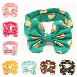 Polka dot bow hair bands online shopping - baby gold polka dot headbands girls boutique hair bows children big bow hair accessories kids cotton elastic bands spot christmas headwear
