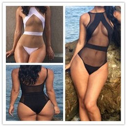 Barato Maiô De Lycra-2015 One Piece Mesh Sheer Swimsuit para as Mulheres, Sexy High Cintura Cut Monokini Swimwear push up Bodysuit terno