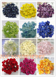 Wholesale 50pcs Colors cm artificial hydrangea flower heads diy wedding bouquet flowers head wreath garland home decoration