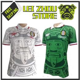 55f002ba3 1998 MEXICO RETRO VINTAGE BLANCO Thailand Quality soccer jerseys uniforms  Football Jerseys shirt Embroidery Logo camiseta futbol size S-2XXL