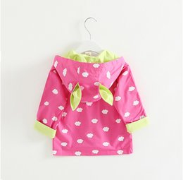 Chinese  2018 New Girl Coat Children Cloud Printed Dust Coat with Pocket and Bunny Ears Hoodie Kids Clothes manufacturers