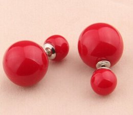 $enCountryForm.capitalKeyWord Canada - New arrival double Pearl stud earrings bubble the factory supplies lovely Korean fashion 30 color Multi choice jewelry charm free shipping