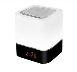 Ночной свет Bluetooth динамик портативный беспроводной динамик настольная лампа с микрофоном Smart Touch светодиодные лампы настроение будильник Радио TF карта