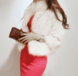 Mujeres Blanco Negro Faux Fur Coat Ladies Cuello Redondo Manga Larga de Piel Parka Chaqueta de Invierno Cálido Cardigan Abrigo S-2XL CJD0815 en venta