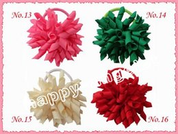 Curly hair baby girl online shopping - 500pcs Girl quot bows flower O A korker Ponytail holders Corker curly ribbons streamers baby hair bows with elastic hair rope headband PD006