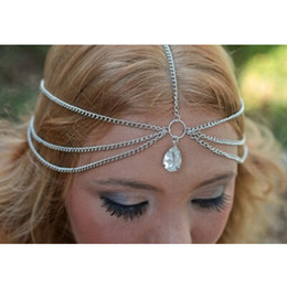head chain headband Australia - Gold Silver Teardrop Crystal Hairband Hair Accessories Crown Jewelry Headband Styling Tools Head Chain Head for Women Wholesale