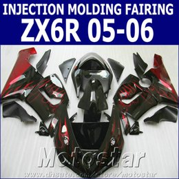 Red Black Kawasaki Zx6r NZ - High quality fairings set for Kawasaki Injection molding Ninja 636 ZX-6R 05 06 red flames in black fairing kit ZX6R 2005 2006 XV7