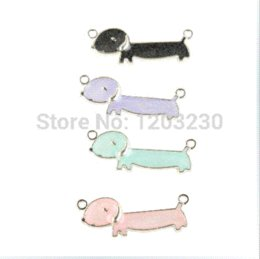Colours Alloy Jewelry Canada - New arrived 50pcs lot mix colour Double Hanging silvery white alloy Drop oil cartoon Dachshund charms for jewelry decoration