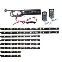 Yamaha Remote Control Canada - 3 Sizes 8Pcs SMD5050 RGB Waterproof Led Strips 2 Remote Control Motorcycle Accent lights 15 Color Kit 32&64&92
