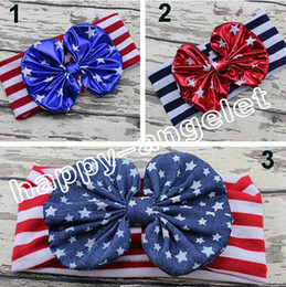 Discount wholesale 4th july headbands - 20pcs women baby Infant knotted bronzing Bow Turban Twist hair band flower 4th of July headband Head Wrap stripe stars H