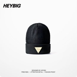 Beanies Bboy Canada - Wholesale-Heybig Brand Unisex Knitted Hats Autumn-Winter,Black Lovers' Knit Beanies Elastic,Street Hiphop Bboy Caps With Metal Triangle