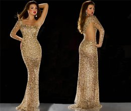 Barato Uma Manga Vestido De Baile Barato-Hot One Shoulder Evening Dresses Long Sleeve Gold Sheer Beads Crystal Rhonestone Prom Vestido Andar Length Party Cocktail Dress Barato