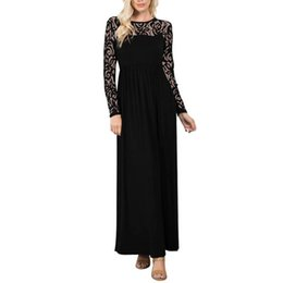 Barato Vestido De Renda Fábrica Direta-2017 New Fashion Black White Red Long Sleeve Lace Fold Long Dress Vestidos de verão Sexy Dress Women Clothing Wholesale Factory Direct Supply